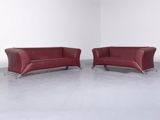 Rolf Benz 322 Designer Leder Sofa Garnitur Rot Echtleder Dreisitzer  Zweisitzer Couch #7163