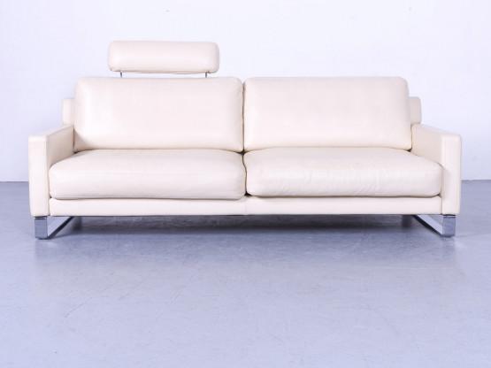 Rolf Benz Ego Leder Sofa Creme Beige Dreisitzer Couch Echtleder #6283