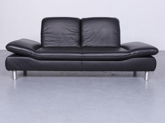 Koinor Rivoli Designer Leder Sofa Schwarz Dreisitzer Echtleder Couch #6526