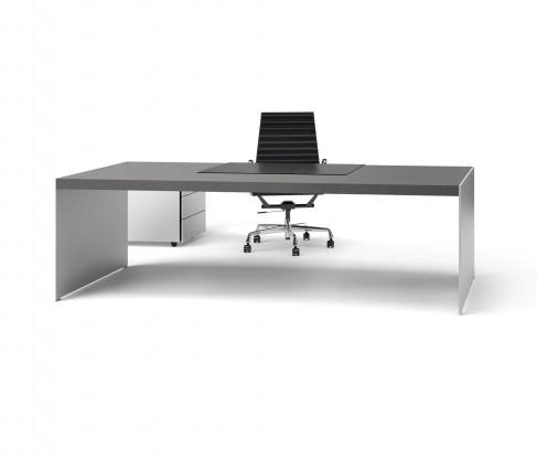 """Schreibtisch RENZ """"SIZE"""", Design JEHS & LAUB, Eiche grau /Alu, Winkelkombi"""