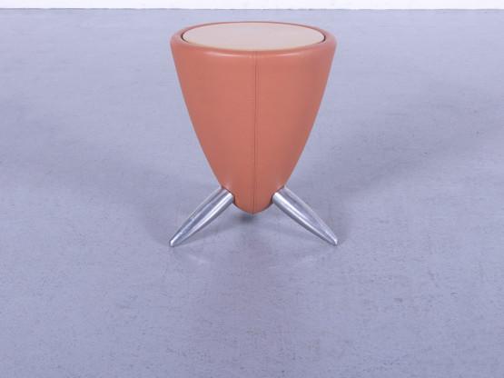 Leolux Tamtam Designer Leder Hocker Orange Beistelltisch Holz Echtleder #5839