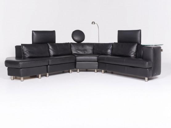 Rolf Benz Designer Leder Ecksofa Schwarz Echtleder Sofa Couch 8321