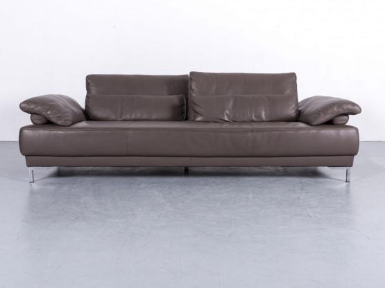 Ewald Schillig Leder Sofa Braun Dreisitzer Couch Funktion Echtleder #6065