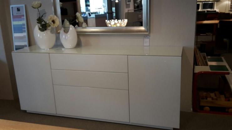 Sideboard WK CRISTAL 483 in Glas- /Lack-/Kombination weiss