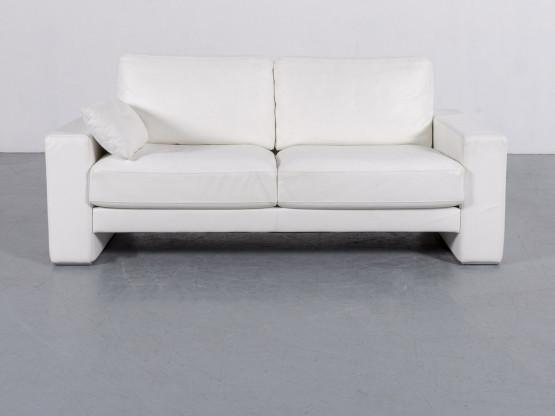 Rolf Benz Ego Leder Sofa Weiß Zweisitzer Couch Echtleder #5427