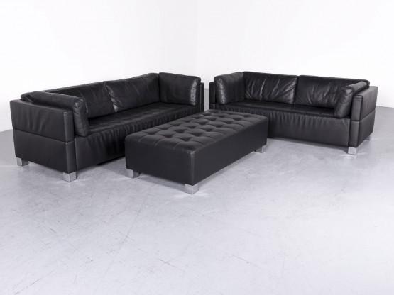 Bruhl Sippold Carree Designer Leder Sofa Hocker Garnitur Schwarz