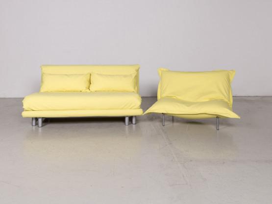 Ligne Roset Multy Calin Designer Stoff Sofa Garnitur Gelb Dreisitzer