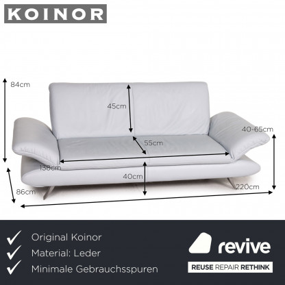 Koinor Rossini Leder Sofa Eisblau Blau Dreisitzer Funktion Couch Designermobel Koln Lovenich