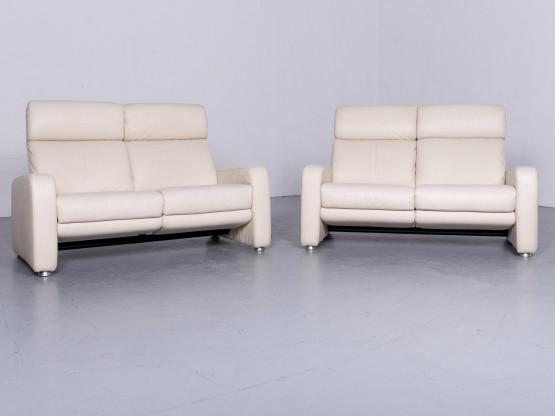 Willi Schillig Designer Sofa Leder Garnitur Beige Echtleder Couch Zweisitzer Funktion #6456