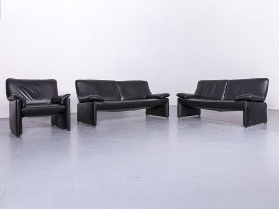 Laauser Flair Designer Leder Sofa Sessel Garnitur Schwarz Echtleder