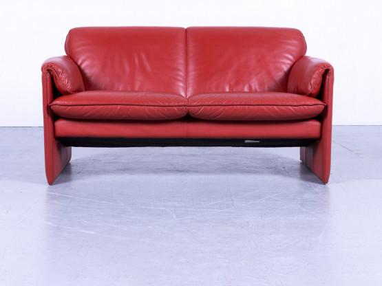 Leolux Designer Leder Sofa Orange Rot Zweisitzer Couch Echtleder Modern #5345