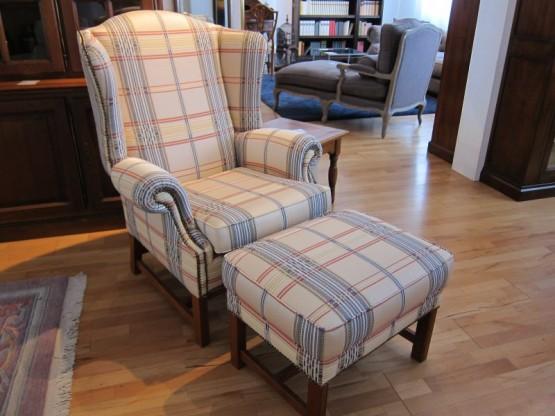 ivernes backensessel stoff kariert mit hocker von finkeldei designerm bel sindelfingen. Black Bedroom Furniture Sets. Home Design Ideas