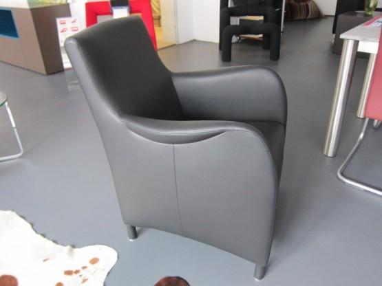 Sessel BW-Mondial, Leder schwarz, von Bielefelder Werkstätten