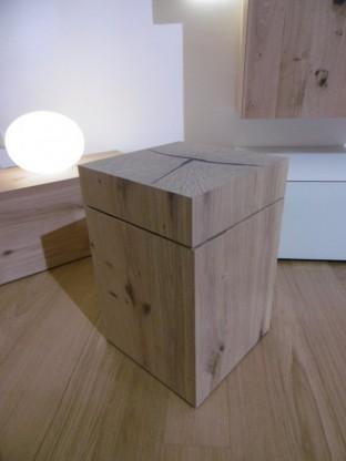 Voglauer Holzwürfel Holzblock Kubus Solid in Wildeiche mit drehbarer Platte