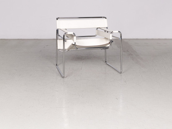 Knoll International Wassily Designer Leder Stuhl Creme Echtleder