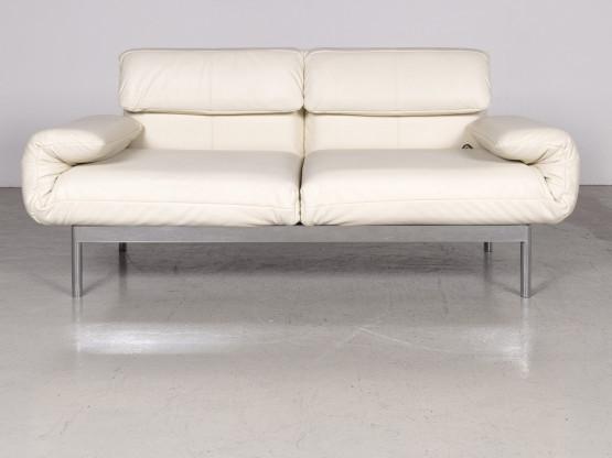 Rolf Benz Plura Designer Leder Sofa Creme Echtleder Zweisitzer Couch