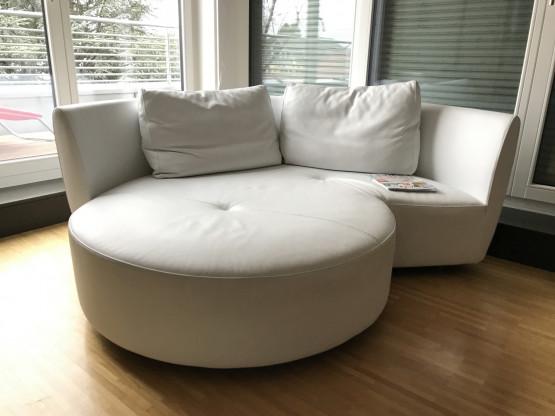 "Who's Perfect halbrundes Glattleder Sofa ""Alcova"" Farbe bianco"