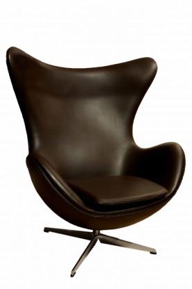 Fritz Hansen Egg Chair Leder Elegance Dunkelbraun.