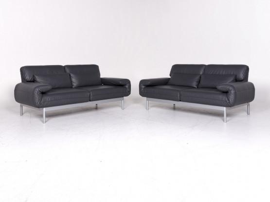 Rolf Benz Plura Designer Leder Sofa Garnitur Grau Dreisitzer Couch