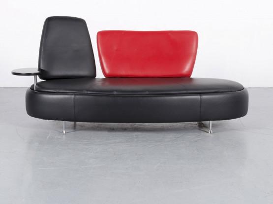 Who's Perfect Leder Sofa Schwarz Rot Dreisitzer Couch Funktion Echtleder #5896