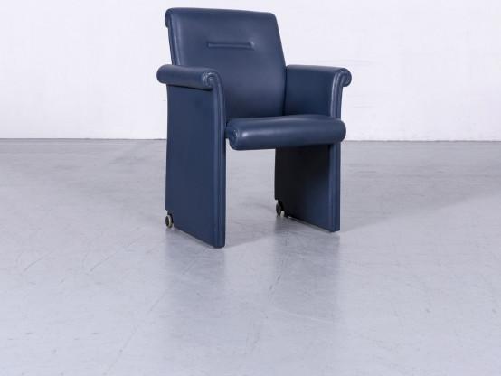 Poltrona Frau Forum Bridge Leder Sessel Blau Echtleder Stuhl #6240