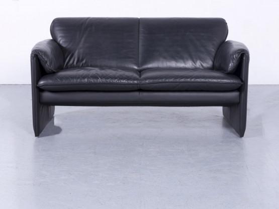 Leolux Bora Designer Leder Sofa Schwarz Zweisitzer Couch Echtleder #5763