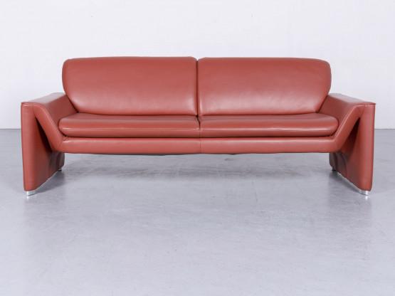 Laauser Corvus Designer Leder Sofa Rot Echtleder Dreisitzer Couch