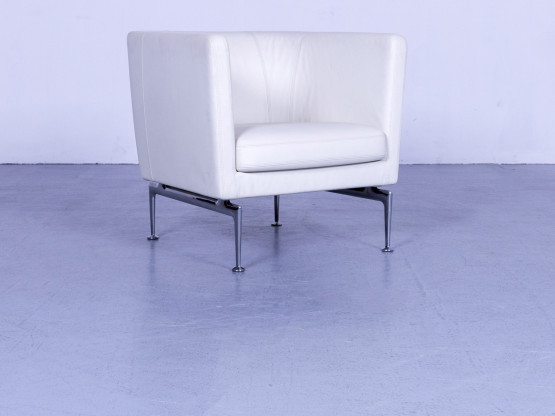 Vitra Suita Designer Leder Sessel Weiß Einsitzer Stuhl Echtleder