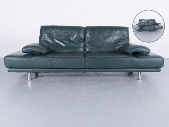 Rolf Benz 2400 Leder Sofa Grün Zweisitzer Couch Funktion Echtleder