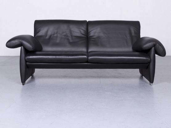 de Sede DS10 Designer Leder Sofa Schwarz Echtleder Couch #6389