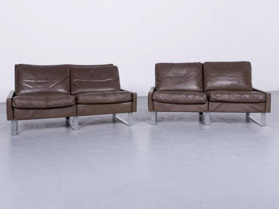 Cor Conseta Designer Leder Sofa Garnitur Braun Echtleder Zweisitzer Couch #6705
