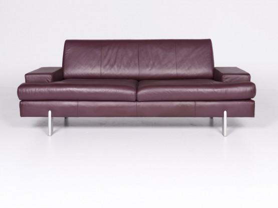 Rolf Benz Ak 644 Designer Leder Sofa Lila Echtleder Dreisitzer Couch
