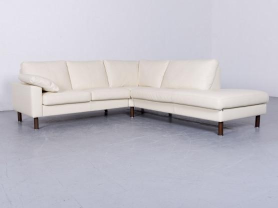 Erpo Designer Leder Sofa Creme Echtleder Ecksofa Couch #6494