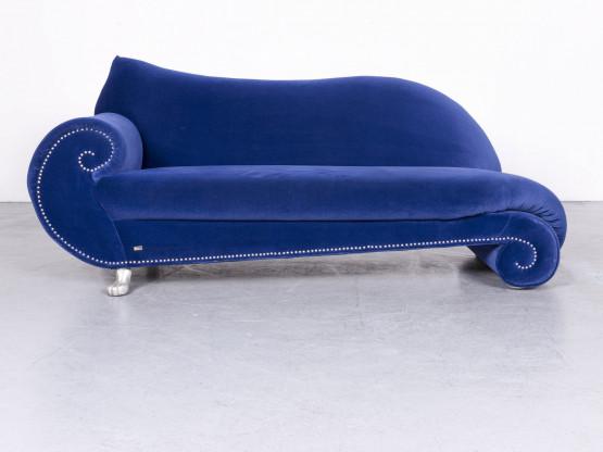 Bretz Gaudi Designer Samt Sofa Blau Stoff Zweisitzer Couch #6671