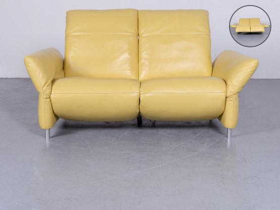 Koinor Elena Designer Leder Sofa Gelb Echtleder Zweisitzer Couch