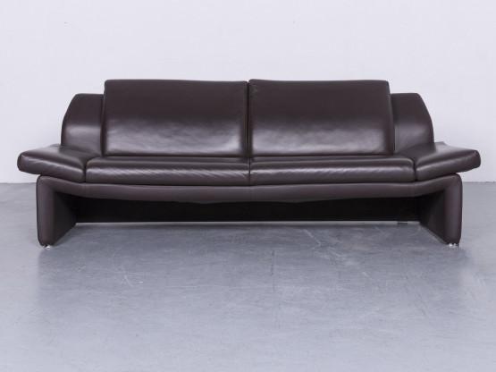 Laauser Designer Leder Sofa Braun Echtleder Dreisitzer Couch #6531