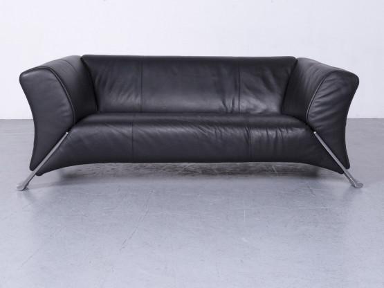 Rolf Benz 322 Designer Leder Sofa Schwarz Couch Echtleder Zweisitzer #6508