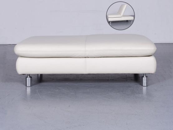 Koinor Rivoli Designer Leder Hocker Weiß Echtleder 6337