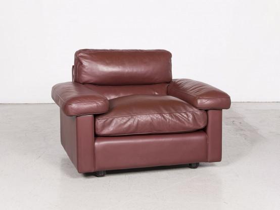Poltrona Frau Petronio Designer Sessel Leder Rot Echtleder Stuhl