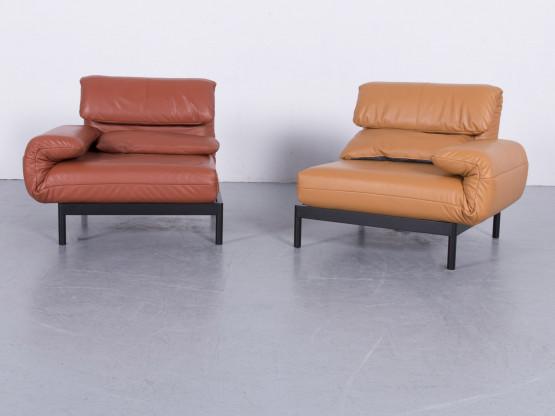 Rolf Benz Plura Designer Leder Sofa Garnitur Gelb Designermöbel