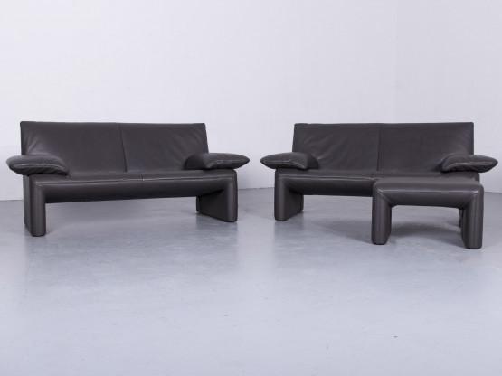 Jori Linea Designer Leder Sofa Sessel Garnitur Grau Echtleder Zweisitzer Couch #6489