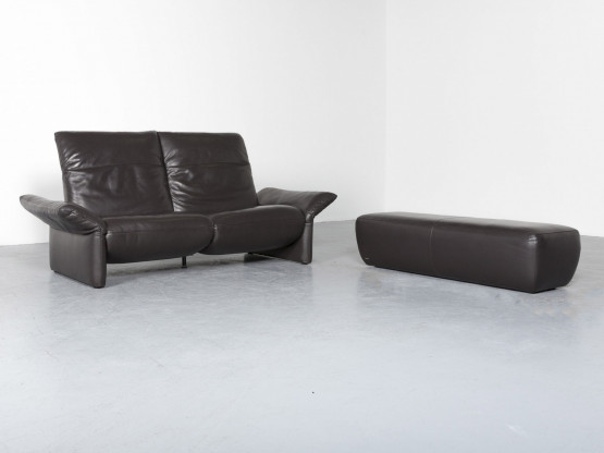 Koinor Elena Designer Leder Sofa Hocker Garnitur Braun Echtleder