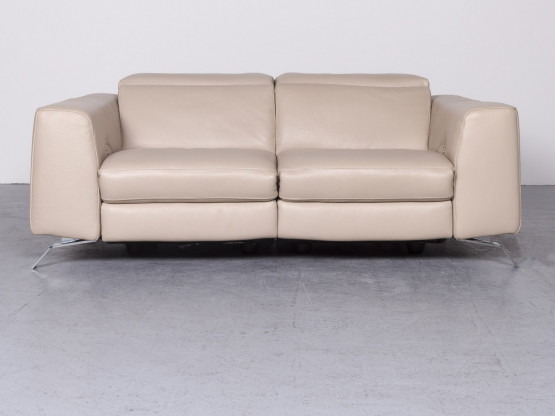 Natuzzi Designer Leder Sofa Beige Echtleder Zweisitzer Couch