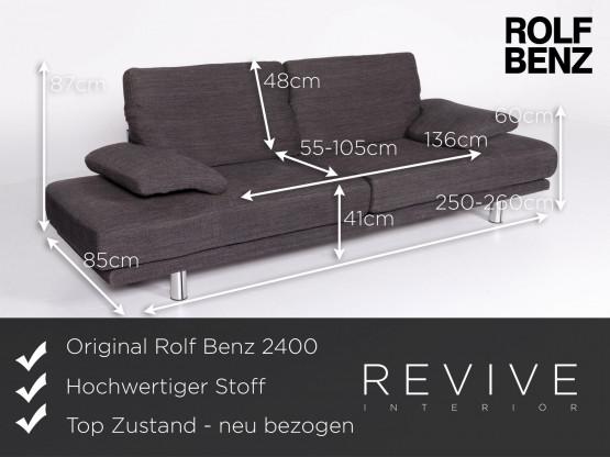 Rolf Benz 2400 Designer Stoff Sofa Grau Dreisitzer Couch Funktion