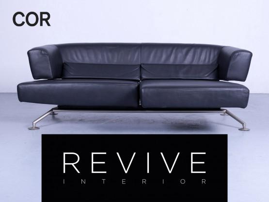 Cor Circum Designer Leder Sofa Schwarz Leder Dreisitzer Couch Echtleder #4953