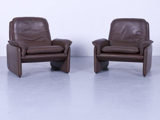 de Sede DS 61 Leder Sessel Garnitur Braun Einsitzer Stuhl Echtleder