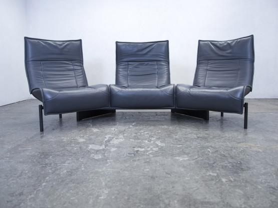 Cassina Veranda Designer Sofa Leder Anthrazit Grau Dreisitzer Funktion Couch  Modern Echtleder #3933