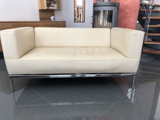 FSM Sofa Easy + 2 Sessel Pavo in Leder weiß