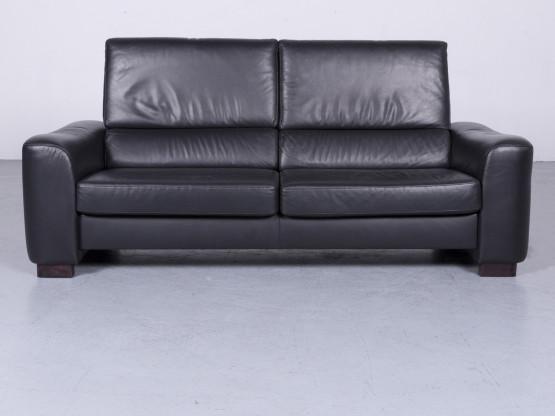 Ewald Schillig Designer Sofa Leder Schwarz Dreisitzer Couch Modern Echtleder #3278
