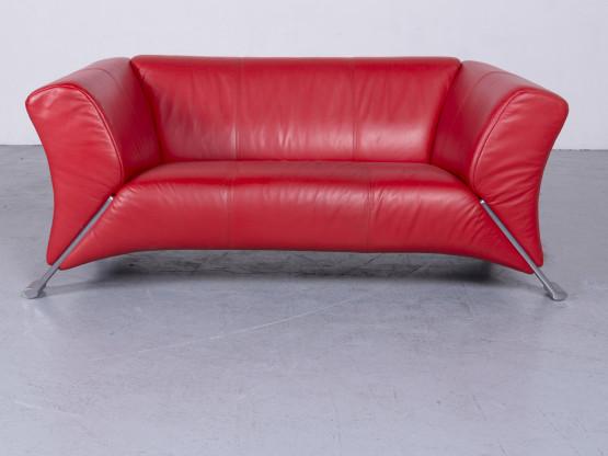 Rolf Benz 322 Designer Leder Sofa Rot Echtleder Zweisitzer Couch ...